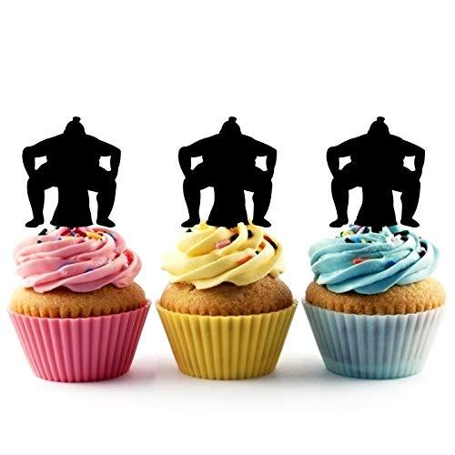 TA0924 Sumo Wrestling Heavyweight Japan Silhouette Party Wedding Birthday Acrylic Cupcake Toppers Decor 10 pcs