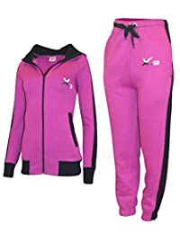 X-2 Women Athletic Full Zip Fleece Tracksuit Jogging Sweatsuit Activewear Hooded Top