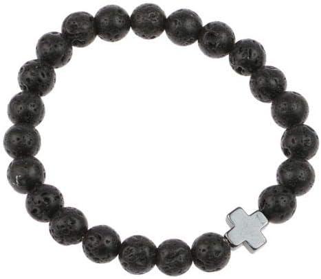 Mens Hematite Cross-Shaped Lava Stone Beads Stretchable Charming Party Bracelet LeLeShop TM
