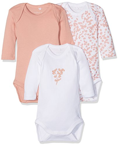 NAME IT NBFBODY 3P LS ROSE TAN NOOS baby-meisjes body (3-Pack)