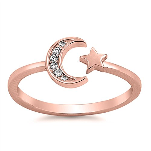 Clear CZ Rose Gold-Tone Moon Star Ring Sterling Silver Vintage Band Size 8