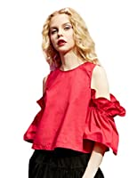 Elf Sack Womans Spring Round Neck Strapless Tunic Shirt Red Large