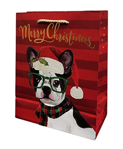 Festive Holiday French Bulldog Wearing Santa Hat & Green Eyeglasses Christmas Holiday Party Gift Bag & Tissue Paper