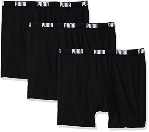 PUMA Men's 3 Pack 100% Cotton Boxer Brief, Black, Large (Express Underware)