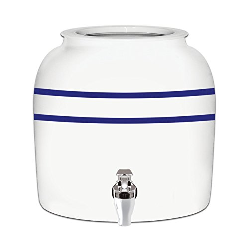 5 Gallon Glass Bottles (Brio Striped Porcelain Ceramic Water Dispenser Crock with Faucet - LEAD FREE (Blue Stripe))