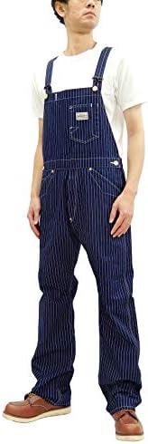 Pherrow`s Men`s Wabash Stripe Bib Overalls Suspender Back Low-Back 271OA-W / Pherrow`s Men`s Wabash Stripe Bib Overalls Suspender Back Low-Back 271OA-W