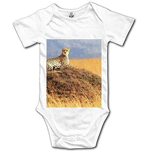 Leopard On The Grass Onesies Short Sleeve Home Outfit for Baby Boys Girls -