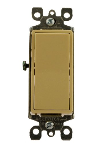 Leviton 5613-2I 15 Amp, 120/277 Volt, Decora Rocker Lighted Handle, Illuminated Off 3-Way AC Quiet Switch, Residential Grade, Grounding, Ivory