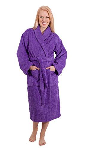 Luxury Terry Cloth Hotel Bathrobe - Premium 100% Turkish Cotton Robe Unisex (Medium, Purple)