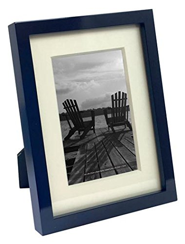 Isaac Jacobs Glossy Wood Picture Frame with Mat (6x8 (Matted 4x6), Navy)
