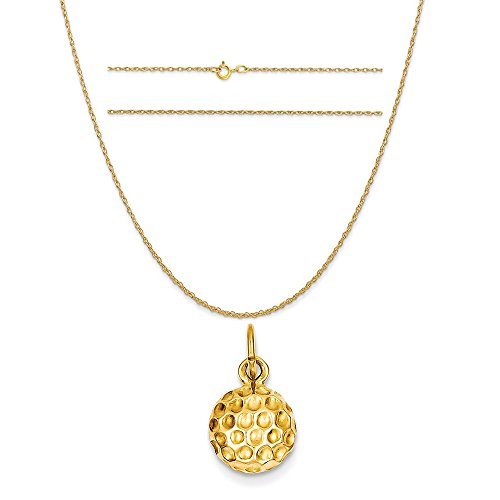 Gold 14k Golf (14k Yellow Gold Golf Ball Charm on a 14K Yellow Gold Carded Rope Chain Necklace, 18