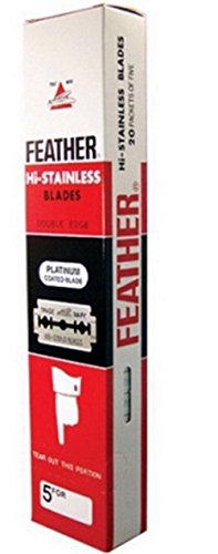 FEATHER Hi Stainless Platimum Coated Doubled Edge Razor Blades Red Box 100 Blades ( = 1 Box) by mewinshop (Ninja Sharp Feathers compare prices)