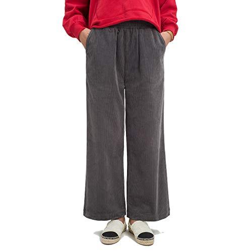 (Ecupper Womens Casual Loose Plus Size Elastic Waist Cotton Trouser Cropped Wide Leg Pants Corduroy Gray 10-12)