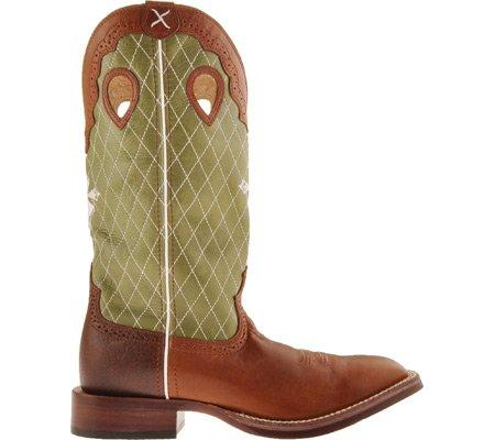 Twisted X Mens Arachidi Ruff Azione Cowboy Boot Largo Punta Quadrata Arachidi Retan / Oliva