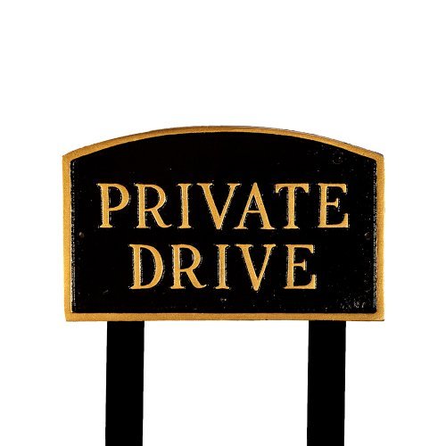 (Montague Metal Products SP-12L-BG-LS Large Black and Gold Private Drive Arch Statement Plaque with 2 23-Inch Lawn Stakes)