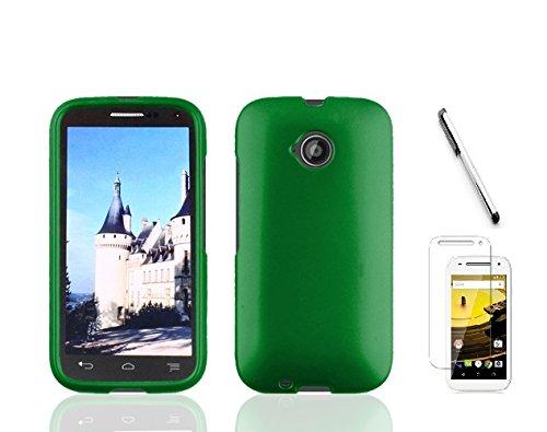 (Motorola Moto E LTE XT1527 (2015, 2nd Generation), Luckiefin Hard Rubberized Snap On Plastic Case Cover, Stylus, Screen Protector Accessory (Hard Green))