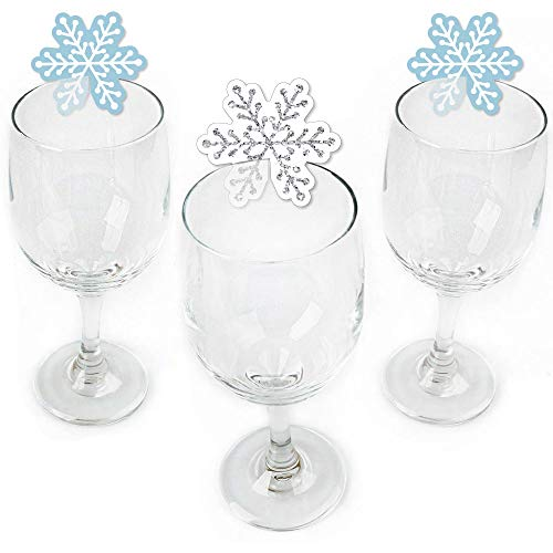 Winter Wonderland - Shaped Snowflake Holiday Party & Winter Wedding Wine Glass Markers - Set of 24