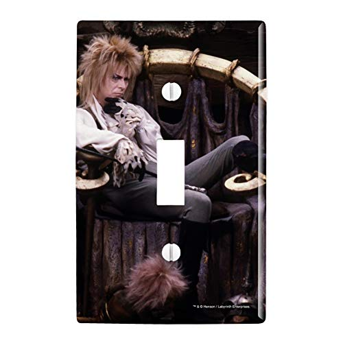 GRAPHICS & MORE Goblin King Jareth from The Labyrinth Sitting On Throne David Bowie Plastic Wall Decor Toggle Light Switch Plate Cover