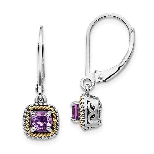 - 925 Sterling Silver 14k Purple Amethyst Leverback Earrings Lever Back Drop Dangle Fine Jewelry Gifts For Women For Her