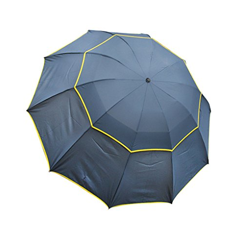 FakeFace® Liebespaar Poly Pongee Regenschirm Sonnenschirm Vergrößert Verdickt 3 Faltbar Doppeldach 10 Rippen Manuell Öffnen UV-Schutz Schirm für Damen Herren Outdoor Camping Reise Alltag 120 CM (Blau)