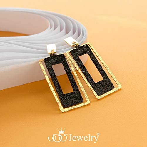 20\u00d725mm Rectangle earring MS0023-PG Polished Gold- Plated 2 Pieces Hammered Post Earring