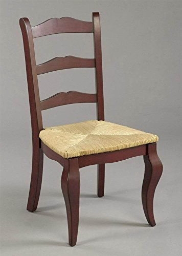 Ladder Back Rush Seat - AA Importing Classic Ladder-Back Dining Chair w Red Finish & Woven Rush Seat