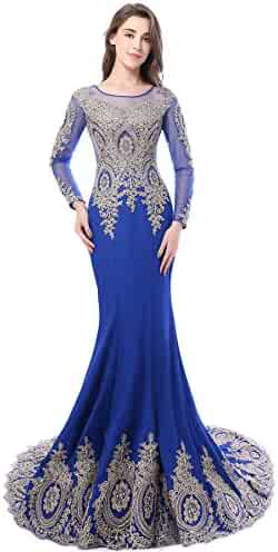 c5c726a8808 Babyonline Trumpet Long Evening Dress Lace Beads Cap Sleeve Party Prom Gowns