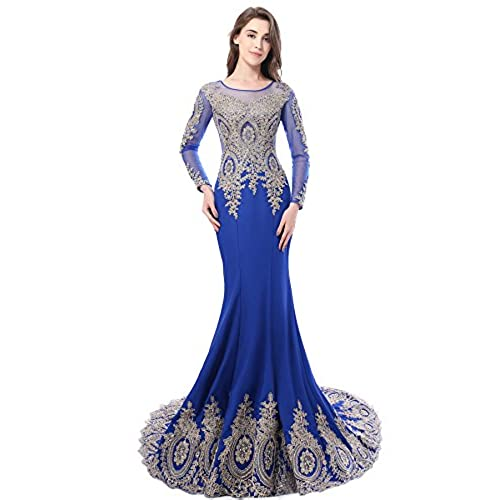 Womens Crystals Lace Applique Long Formal Mermaid Evening Prom Dresses Royal Blue US10