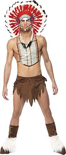 Men Icons & Legends Fancy Festival Party Village People Indian Costume Brown - Village People Fancy Dress Costumes