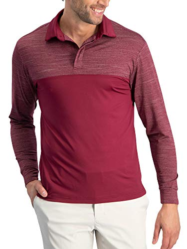 - Three Sixty Six Long Sleeve Polo Shirts for Men - Men's Long Sleeve Golf Polos - Dry Fit Fabric Maroon