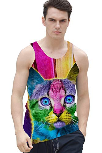 Men's Colorful Paint Tie Dye Cat Tank Tops 3D Printed Funny Sleeveless Graphic Tee Cool Gym Workout Shirts Cat Mens Tank Top