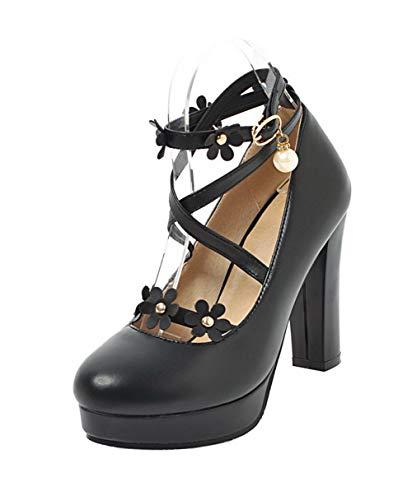 Unie Couleur Aalardom Noir Haut Boucle Talon Femme LégeresTsfdh004313 À Chaussures WEDHI29