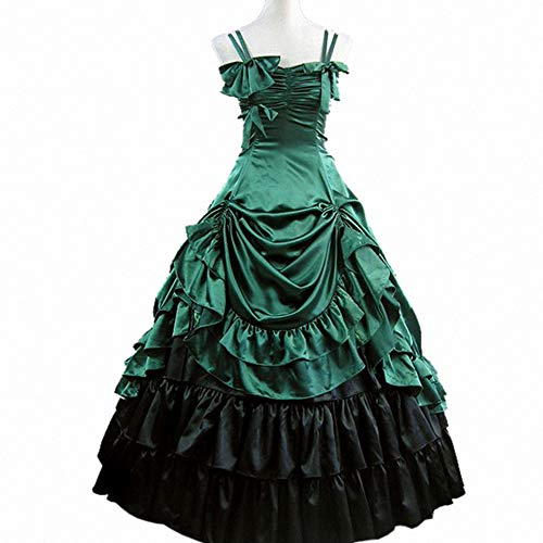 I-Youth Womens Gothic Victorian Dresses Ruffles Sleeveless Long Prom Ball Gown Cosplay Halloween Masquerade Costumes (M, Green) ()