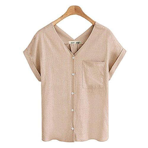 Linen Cotton Tank - FINCATI Blouse Chiffon Women Cotton Tops V Neck Pocket Button Down Fashion Short Sleeve T Shirt Tank Tops Tee(A-Beige, XXL)