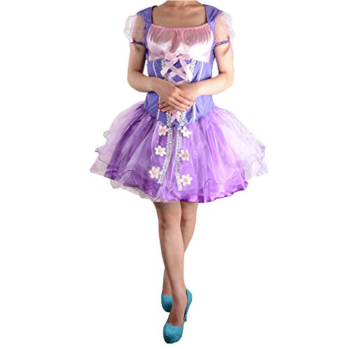 Wraith of East Adult Princess Rapunzel Costume Women Cosplay Halloween Dress S Purple (Tangled Halloween Costumes For Adults)