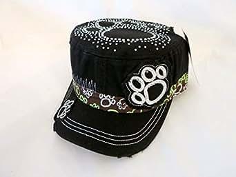 Black Cap For Ladies With Paw Prints