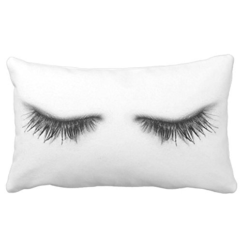 UOOPOO Eyelashes Throw Pillow Case Square 12 x 16 Inches Soft Cotton Canvas Home Decorative Wedding Cushion Cover for Sofa and Bed One Side