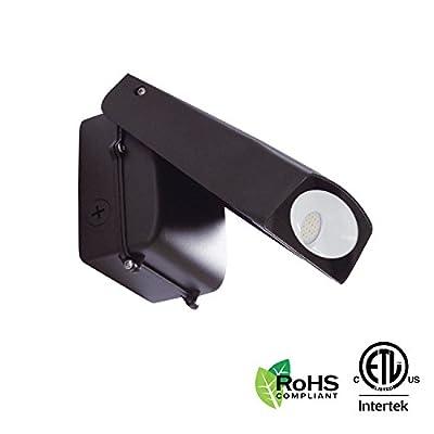 LED Adjustable Wall Pack Security Flood Light, Outdoor Fixture, Dusk to Dawn, 5000K Daylight, 20W, 2000 Lumens, 120V, Waterproof, ETL Certified, RoHS Compliant