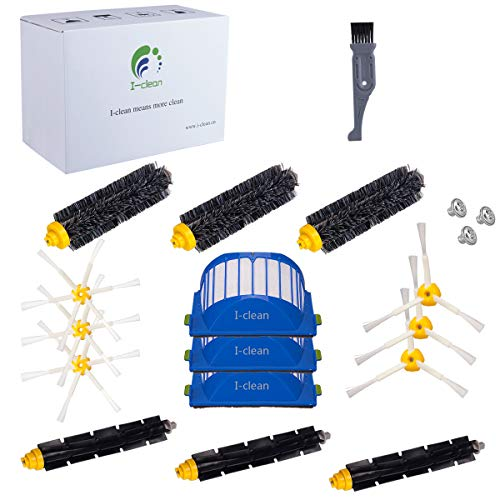 I clean Compatible with Roomba 690, 650,620,630,770 Vacuum Cleaner Accessories, 15Packs Replacement iRobot Roomba Parts Brushes Filters 600&700 Series(with a Free Cleaning Brush) ()