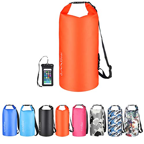 OMGear Waterproof Dry Bag Backpack Waterproof Phone Pouch 40L/30L/20L/10L/5L Floating Dry Sack for Kayaking Boating Sailing Canoeing Rafting Hiking Camping Outdoors Activities (Orange2, 20L)