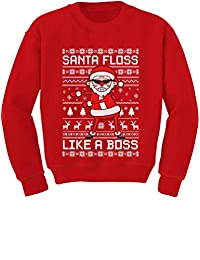 Tstars Santa Floss Like a Boss Funny Ugly Christmas Sweater Youth Kids Sweatshirt