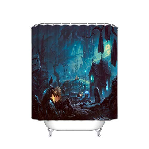 ALDECOR Happy Halloween Shower Curtain Funny Quotes Polyester Fabric Bathroom Decor Set with Hooks Mildew Resistant Anti-Bacterial -