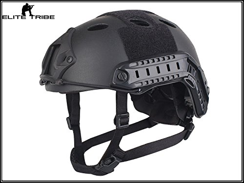 Military Airsoft Paintball Helmet Combat Tactical Carbon Fiber FAST Helmet PJ Type Black by Paintball Equipment