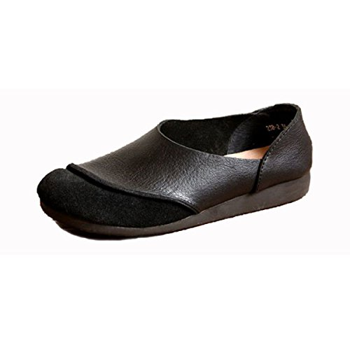 Women Leather Shoes Color Flats Slip On Loafers Black - 6