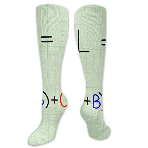 Mathematical Calculation Cube Square Root Polyester Cotton Over Knee Leg High Socks Fancy Unisex Thigh Stockings Cosplay Boot Long Tube Socks for Sports Gym Yoga Hiking Cycling Running Nurses