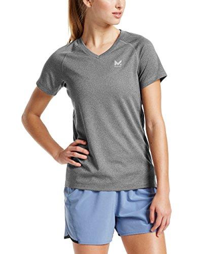 (Mission Women's VaporActive Alpha Short Sleeve V-Neck T-Shirt, Heather Grey,)