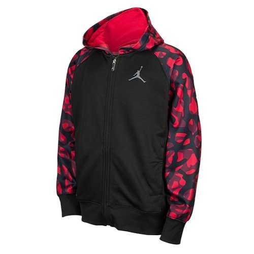 Nike Jordan AJ Camo Full-Zip Hoodie Black/Gym Red (Large)