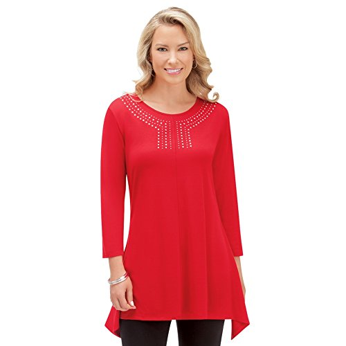 Collections Etc Women's Embellished Knit Tunic w/Sharkbite Hem, Red, X-Large - Made In The (18 Misses Tops)