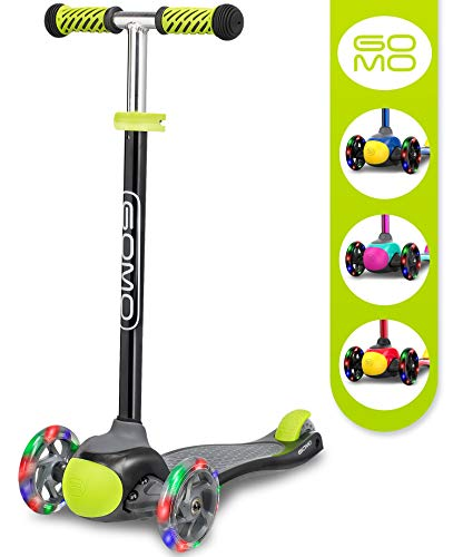 GOMO 3 Wheel Scooter - Toddler Scooter - Three Wheel Scooter for Kids 2, 3, 4 and 5 Years Old - Adjustable Height Kick Scooter w/Colors for Boys & Girls (Black/Green)
