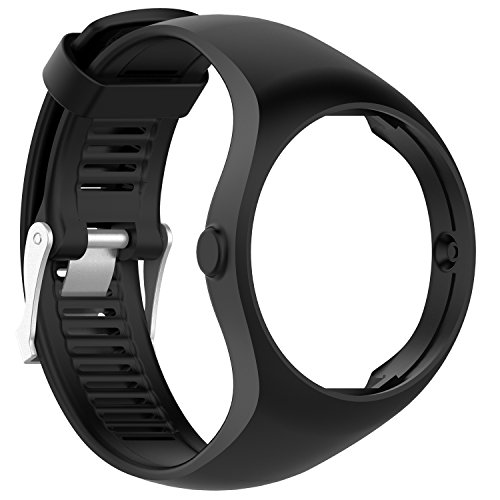 For Polar M200 Replacement Bands,RuenTech Silicone Strap[Integrated Style] Sport Wristband for Polar M200 GPS Running / Sports Watch (Black)